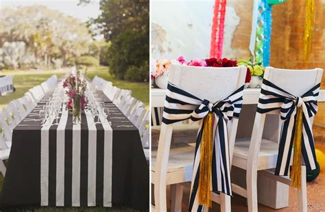 black and white striped wedding chair and table decor onewed com