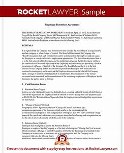 employee retention agreement template with sample With retention schedule template