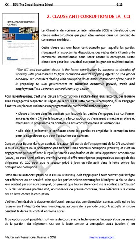 chambre de commerce internationale clause anticorruption chambre commerce internationale
