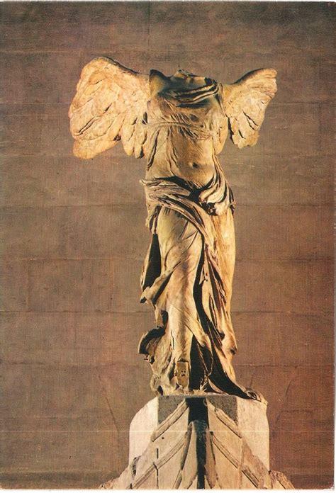 louvre museum postcard victoire de samothrace statue paris