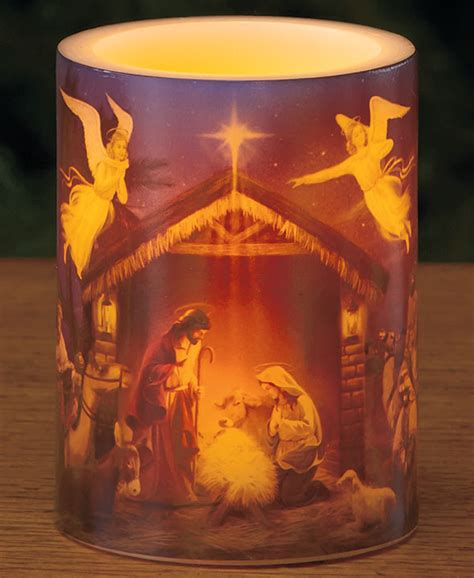 Original Shower Curtains by Jesus Nativity Angels Holiday Led Candle W Timer
