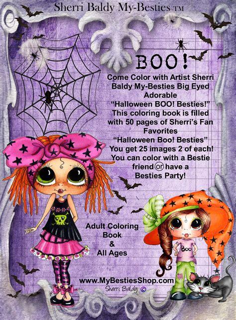 coloring books signed copies   artist sherri baldy  besties halloween boo besties