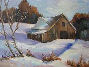 The Old Barn In Winter Painting by Sharon Franke