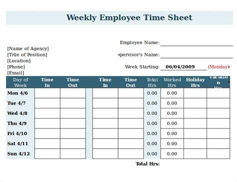 Employee Clock In Sheet