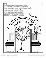 Worksheets Nursery Hickory Dickory Dock Coloring Printable Preschool Rhyme Rhymes Mouse Activities Rhyming Animals Clock Worksheet Printables Crafts Buckle Shoe sketch template