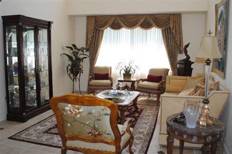 window treatments traditional living room miami