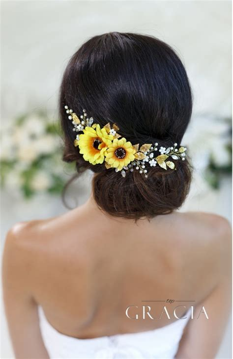 Hypatia Yellow Sunflower Bridal Headpiece Fall Wedding