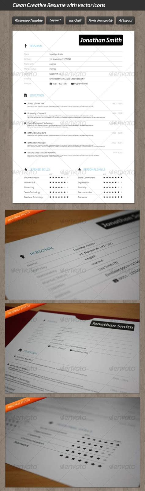 clean creative resume 1000 images about photoshop resume templates on