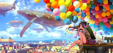 Colorful Anime Wallpaper - barefoot hair anime anime bubbles