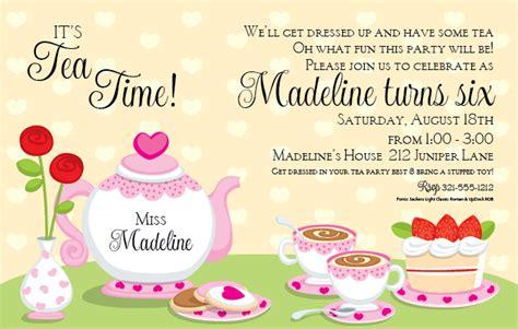 printable princess tea party birthday invitations