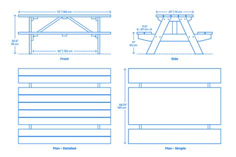 Picnic Bench Dimensions by Picnic Table Rectangular Dimensions Drawings