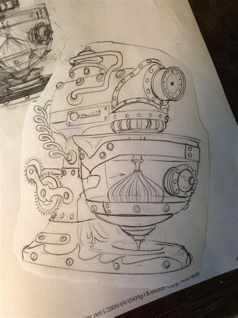 sketch   steampunk kitchen aid mixer artist  rodney