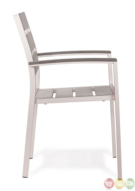metropolitan brushed aluminum dining slated arm chair zuo