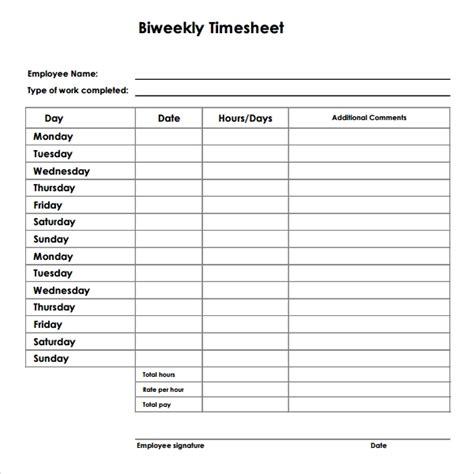 bi weekly timesheet template   word excel