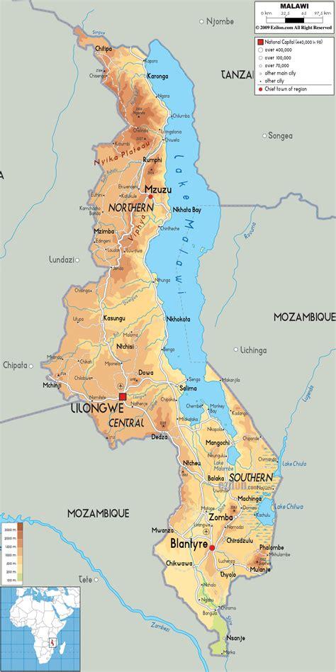 physical map  malawi ezilon maps