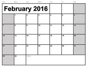 2016 Printable Monthly Calendar Template