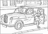 Coloring Taxi British sketch template