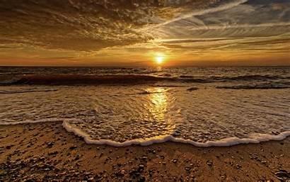 Horizon Sea Foam Wave Clouds Sunset Nordsee