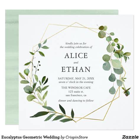 Eucalyptus Geometric Wedding Invitation Zazzle com