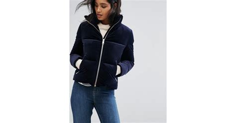 Tommy Hilfiger Velvet Down Padded Jacket In Blue