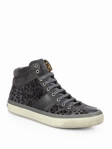 Jimmy Choo Belgravi Leopard Print Hightop Sneakers in Gray ...
