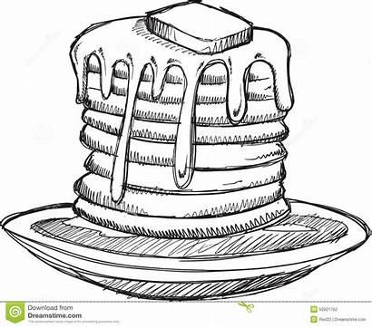 Pancake Pancakes Breakfast Sketch Clipart Doodle Vector