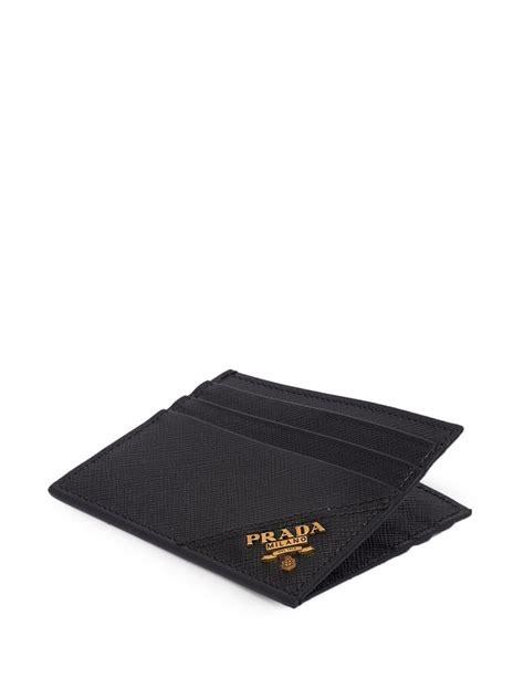 Prada men's vitello micro grain black leather vertical bifold card holder with triangle logo. Prada Leather Saffiano Card Holder in Black for Men - Lyst