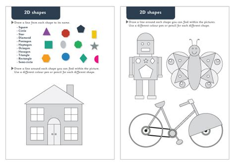 early learning resources  shapes maths worksheets