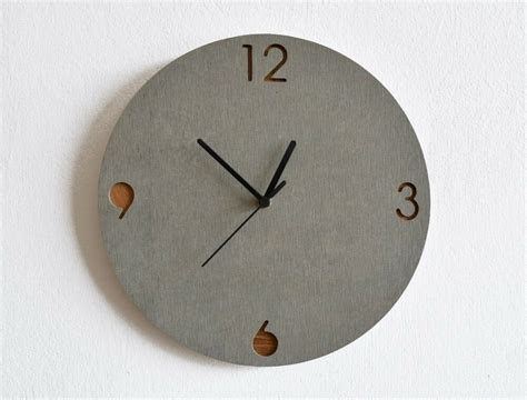 Concrete And Wood Circle Wall Clock
