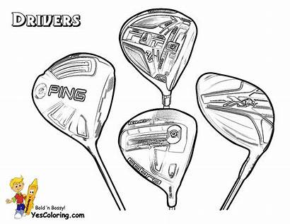 Golf Coloring Club Yescoloring Colorable Clubs Drivers