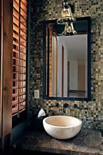 powder room  mosaic tile feature wall   natural