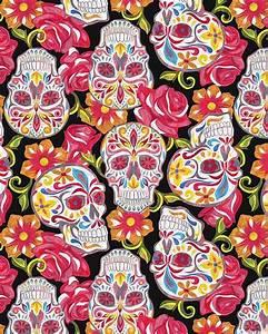 Festive Sugar Skulls - Resting in Roses - Quilt Fabrics ...
