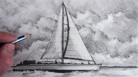 How To Draw A Keelboat by Drawn Sailing Boat Pencil Drawing Pencil And In Color