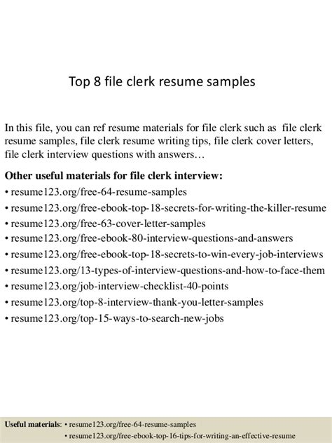 File Clerk Resume by Top 8 File Clerk Resume Sles