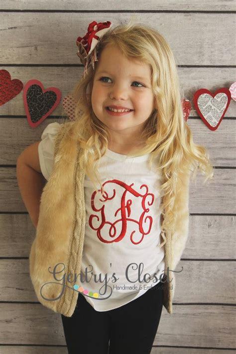 monogrammed girls shirt personalized  letter monogram   girl baby toddler