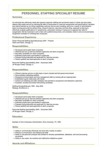 sample personnel staffing specialist resume