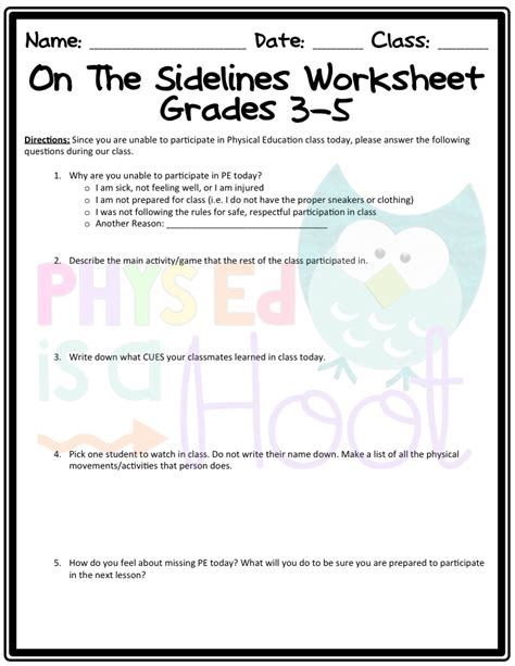 phys ed is a hoot the sidelines worksheet