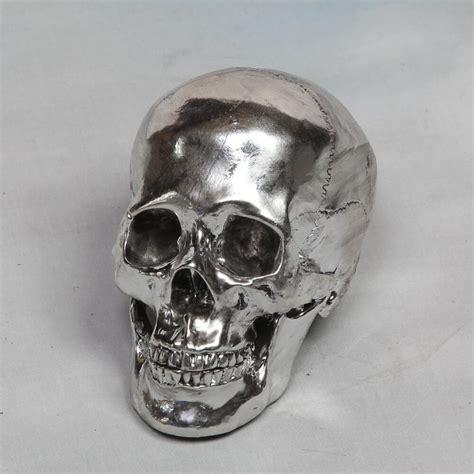 silver white bronze skull decorative head skeleton vintage antique