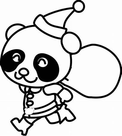 Panda Coloring Clip Santa Mewarnai Gambar Bear