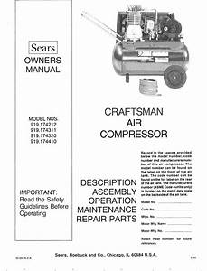 Craftsman 919174212 User Manual Air Compressor Manuals And