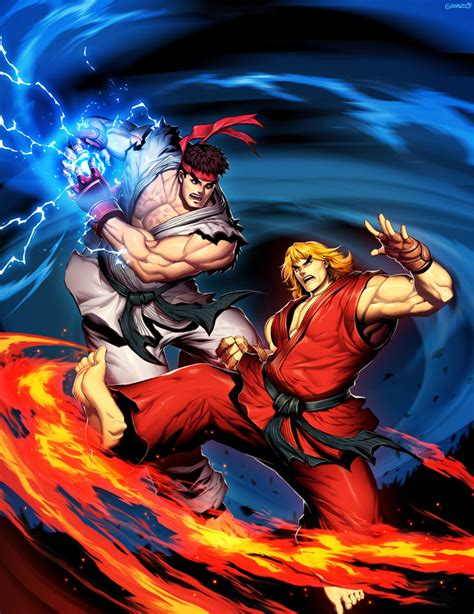 Street Fighter Unlimited Cover With Ryu And Ken