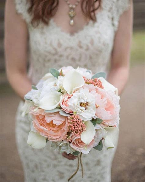 Peony Wedding Bouquet Coral And Cream Bridal Bouquet