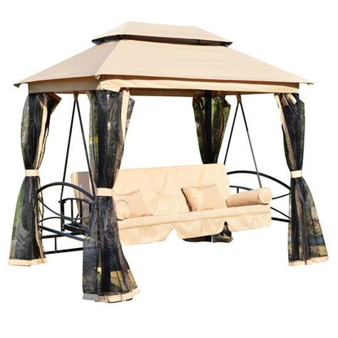 canopy swing outdoor bed 3 person patio daybed canopy gazebo swing