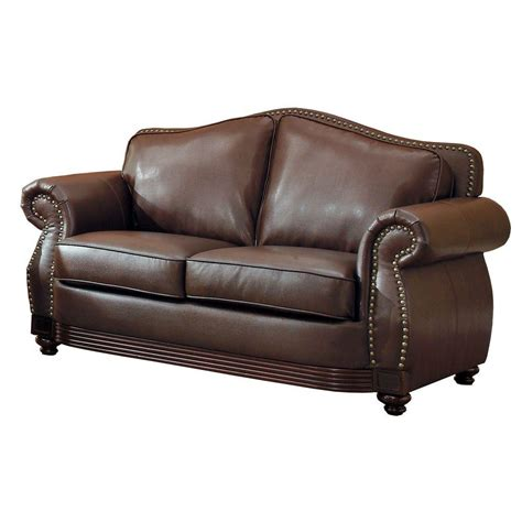 Bonded Leather Loveseat by Homesullivan Kelvington Chocolate Bonded Leather Loveseat