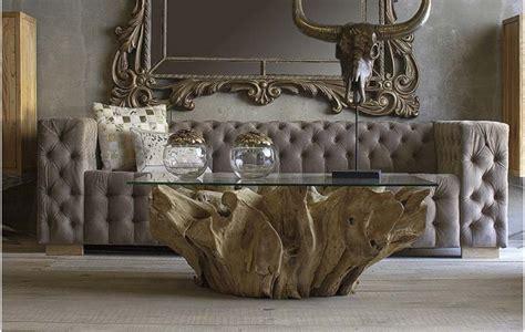 base mesa de centro tronco madera de teka