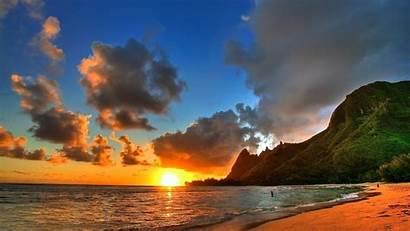 Beach Sunset Wallpapers Nature Sun Under