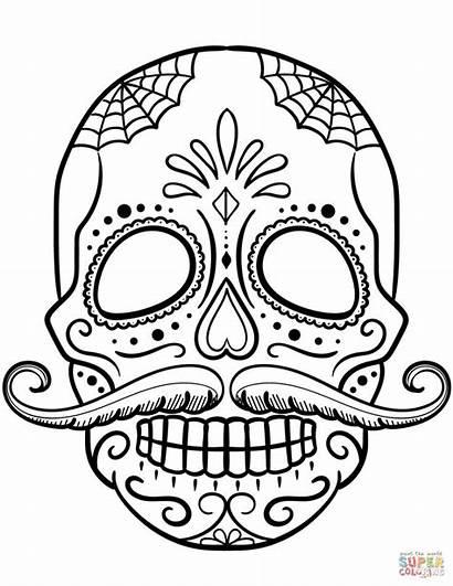 Skull Coloring Sugar Skulls Pages Printable Craft