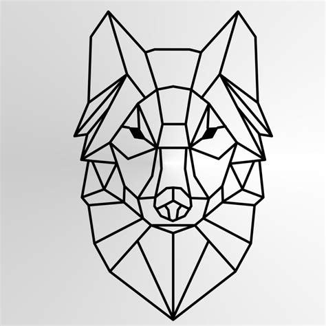 geometric wolf sizes reusable stencil animal modern
