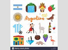 Vector flat style set of Argentina national cultural