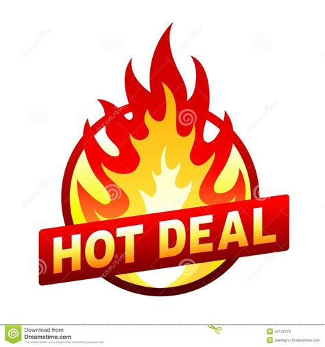 Hot Deal Fire Badge, Price Sticker, Flame Stock Vector